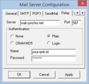 Synchronet Mail Server configuration for relaying through Vertrauen