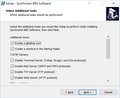 Synchronet for Windows install additional tasks