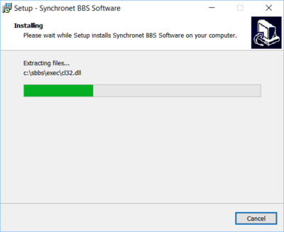 Synchronet for Windows install in process
