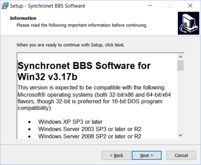 Synchronet for Windows install instructions