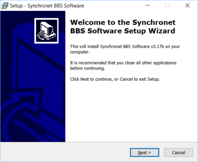 Synchronet for Windows install welcome