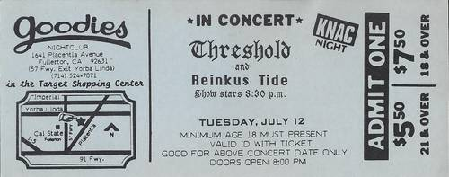 Ticket Stub for the Dresden (Threshold) final gig